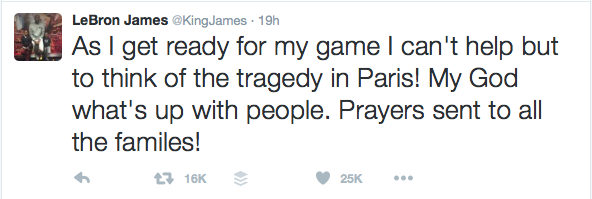 LeBron James #PrayForParis