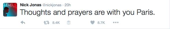 Nick Jonas #PrayForParis